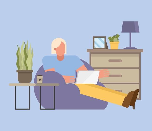 Uomo biondo con laptop lavorando su puf da casa design del tema del telelavoro illustrazione vettoriale Vettore Premium
