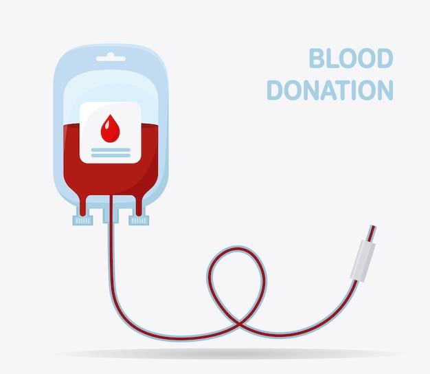Sacca di sangue isolato su sfondo bianco. donazione, trasfusione nel concetto di laboratorio di medicina. Vettore Premium