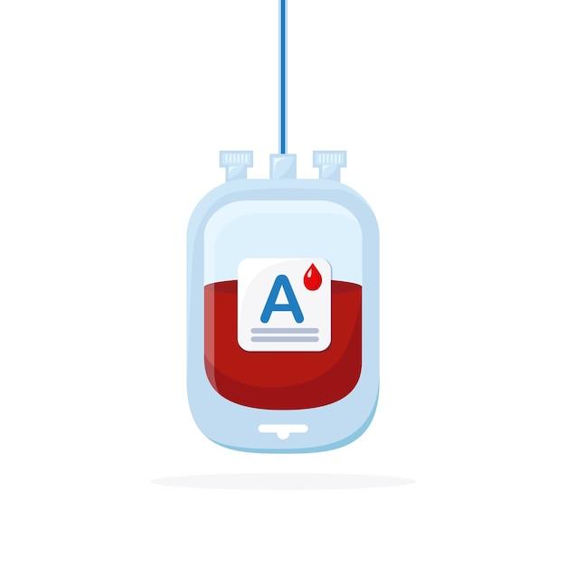 Sacca di sangue con goccia rossa isolato su sfondo bianco. Vettore Premium