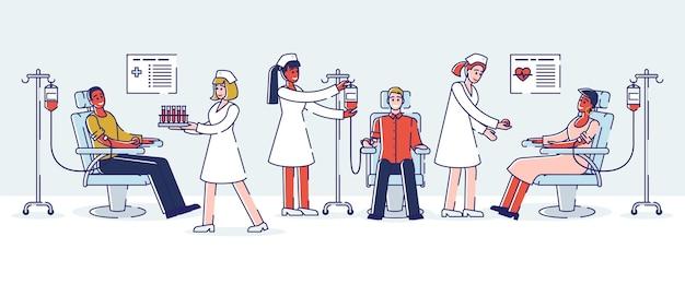 Donazione di sangue, concetto di giornata mondiale del donatore di sangue. Vettore Premium