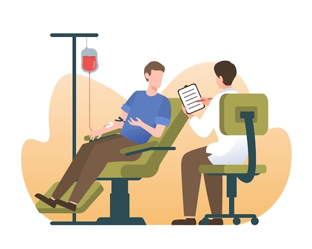 Concetto di donatore di sangue con illustrazione di persone Vettore Premium