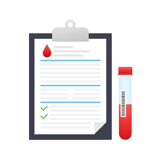 Risultato dell'analisi del sangue in stile piatto. ricerca di laboratorio chimico. Vettore Premium