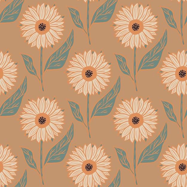 Modello senza cuciture della natura della fioritura con l'ornamento dei girasoli del fumetto Vettore Premium