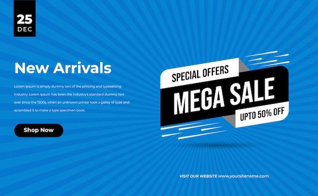 Insegna di percentuale di sconto di offerta speciale limitata di tempo di vendita 3d blu per la vendita mega di nuovo arrivo e il cartellino del prezzo Vettore Premium