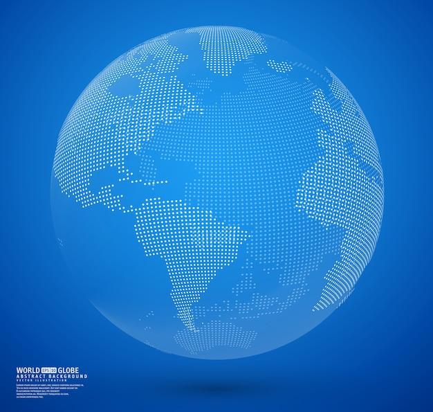 Vettore di globo punteggiato astratto blu Vettore Premium