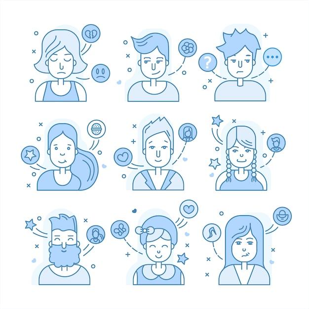 Collezione avatar blu Vettore Premium