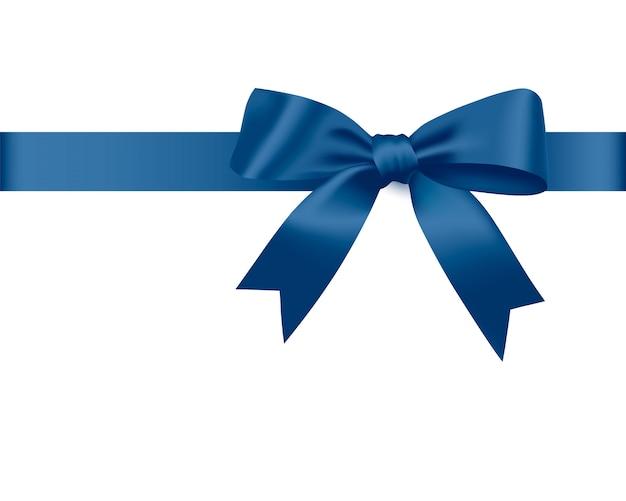 Fiocco blu e nastro di raso. Vettore Premium