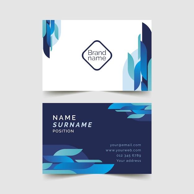 Modello di biglietto da visita blu Vettore Premium