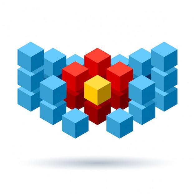 Logo di cubi blu con segmenti rossi Vettore Premium