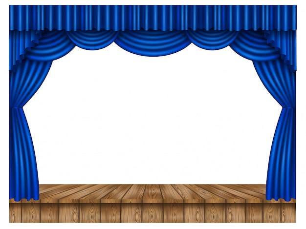 Tenda blu e palco in legno Vettore Premium