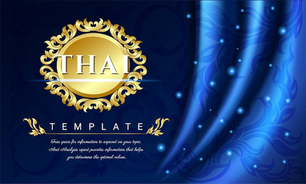 Sfondo blu tende, concetto tradizionale tailandese le arti della thailandia. Vettore Premium