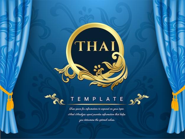Sfondo blu tende, concetto tradizionale tailandese. Vettore Premium