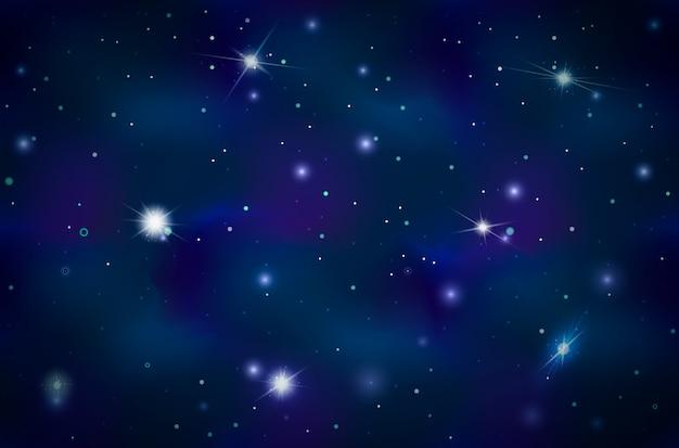 Sfondo blu spazio profondo con stelle luminose e costellazioni Vettore Premium