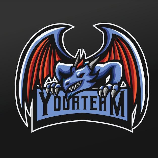 Blue dragon mascot sport illustration per logo esport gaming team squad Vettore Premium