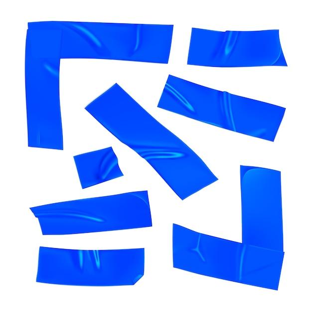 Set nastri adesivi blu. pezzi blu realistici del nastro adesivo per la riparazione isolati su fondo bianco. angolo adesivo e carta incollati. illustrazione 3d realistica Vettore Premium
