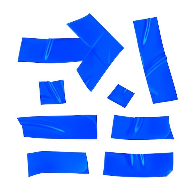 Set nastri adesivi blu. pezzi blu realistici del nastro adesivo per la riparazione isolati su fondo bianco. freccia e carta incollate. illustrazione 3d realistica Vettore Premium
