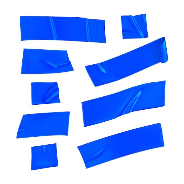 Set nastri adesivi blu. pezzi blu realistici del nastro adesivo per la riparazione isolati su fondo bianco. carta incollata. illustrazione 3d realistica Vettore Premium