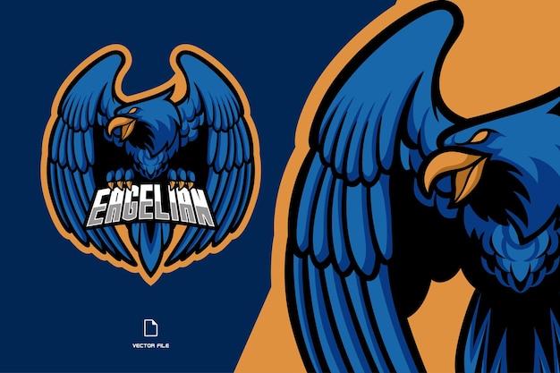 Logo del gioco esport mascotte aquila blu per la squadra di gioco Vettore Premium