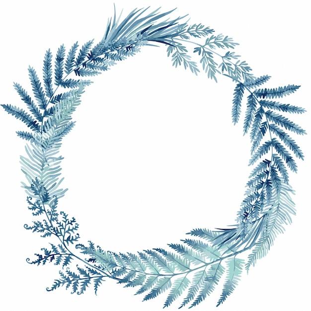 Foglie di felce blu, cornice tropicale Vettore Premium