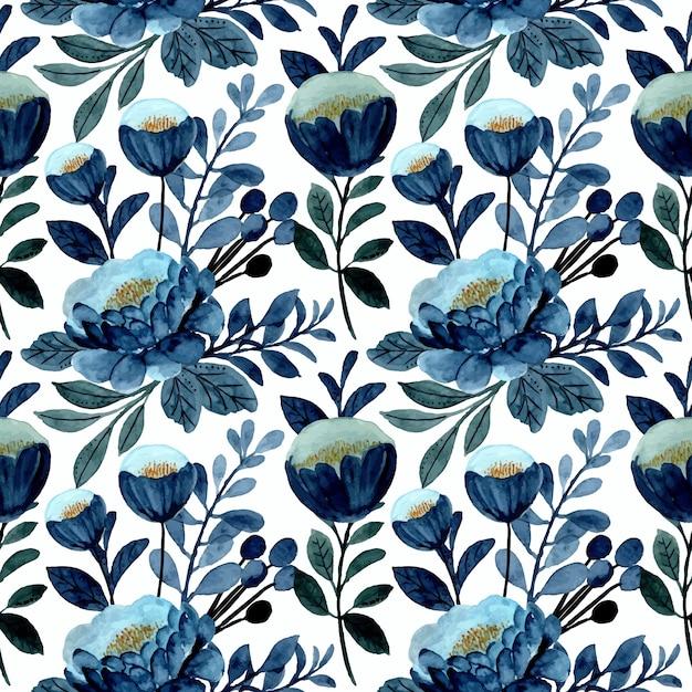 Modello senza cuciture floreale blu con acquerello Vettore Premium