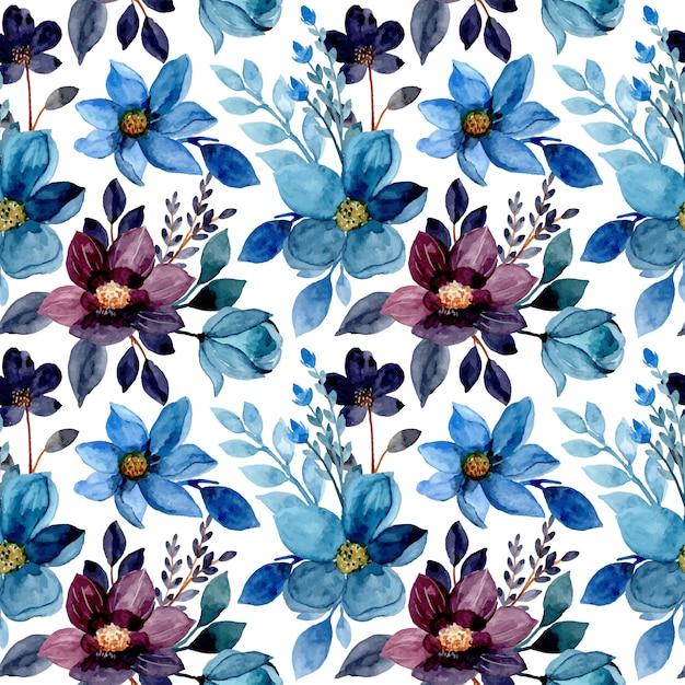 Modello senza cuciture dell'acquerello floreale blu Vettore Premium