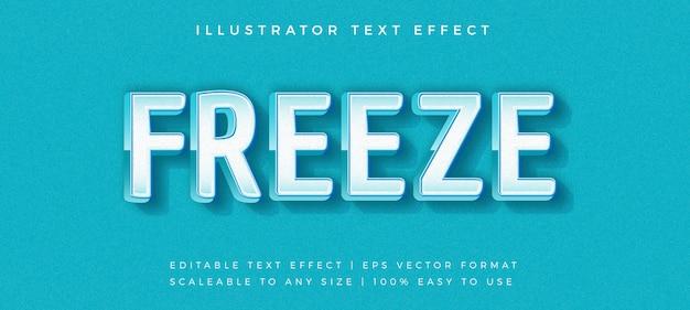 Effetto carattere moderno di testo blu freeze Vettore Premium
