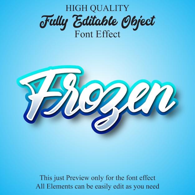 Effetto carattere modificabile script blu congelato Vettore Premium