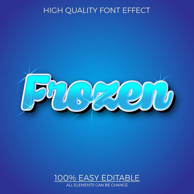 Effetto di carattere modificabile stile testo congelato blu Vettore Premium