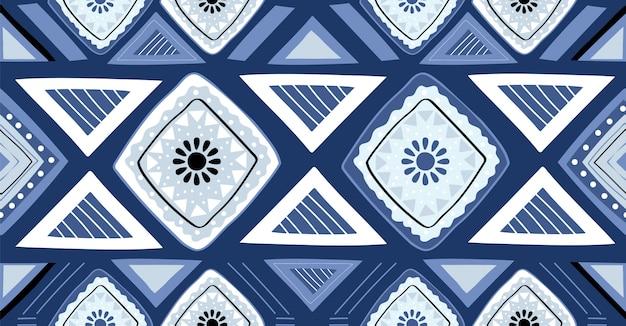 Modello senza cuciture geometrico blu in stile africano Vettore Premium