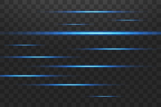 Pacchetto riflettori lenti orizzontali blu. raggi laser, raggi di luce orizzontali bellissimi bagliori di luce. striature luminose su sfondo scuro. fondo foderato scintillante astratto luminoso. Vettore Premium