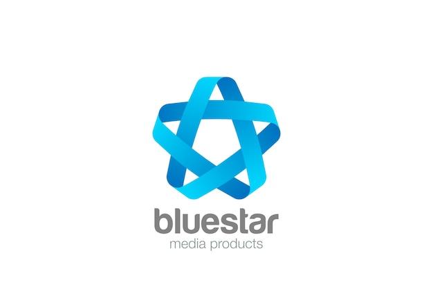 Icona blu con logo a nastro in loop. Vettore Premium