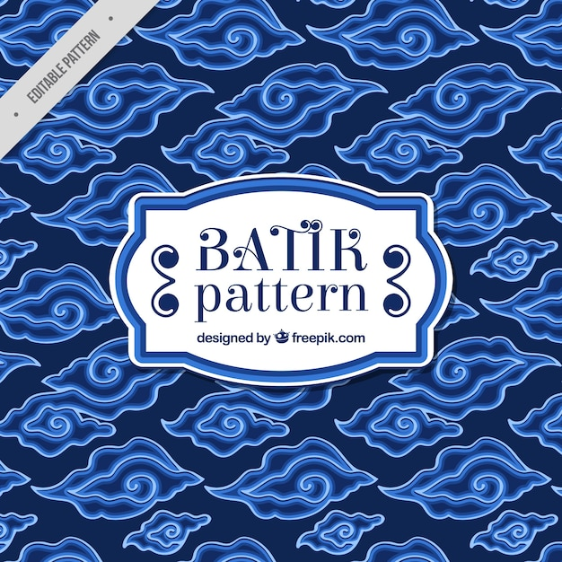 Reticolo blu di forme astratte batik Vettore Premium