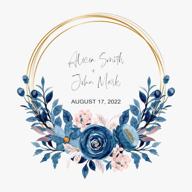 Corona floreale dell'acquerello rosa blu con cornice dorata Vettore Premium