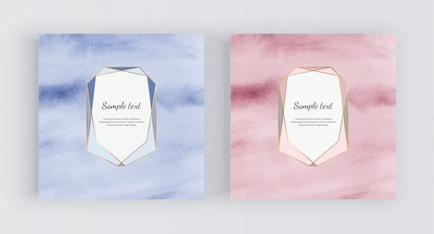 Sfondo acquerello oro blu e rosa con cornice poligonale. Vettore Premium
