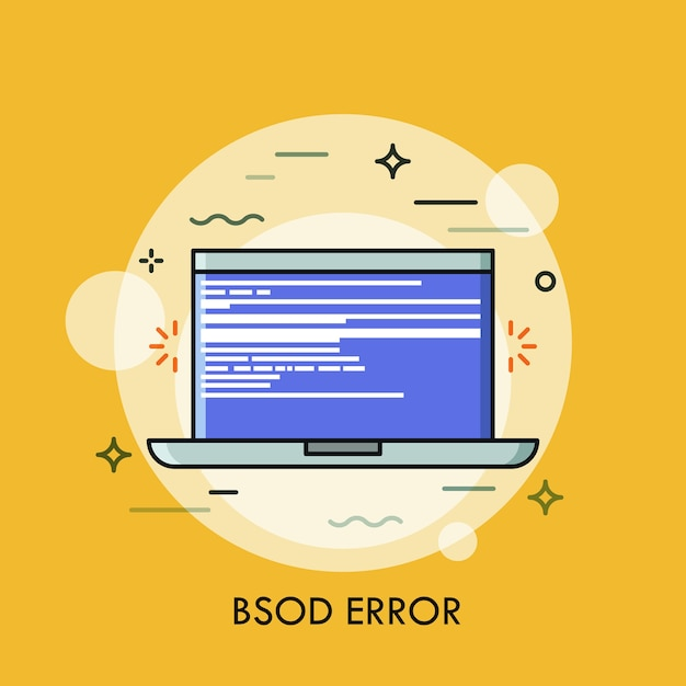 Schermata blu della morte visualizzata sul laptop. concetto di errore fatale, errore del sistema operativo. Vettore Premium