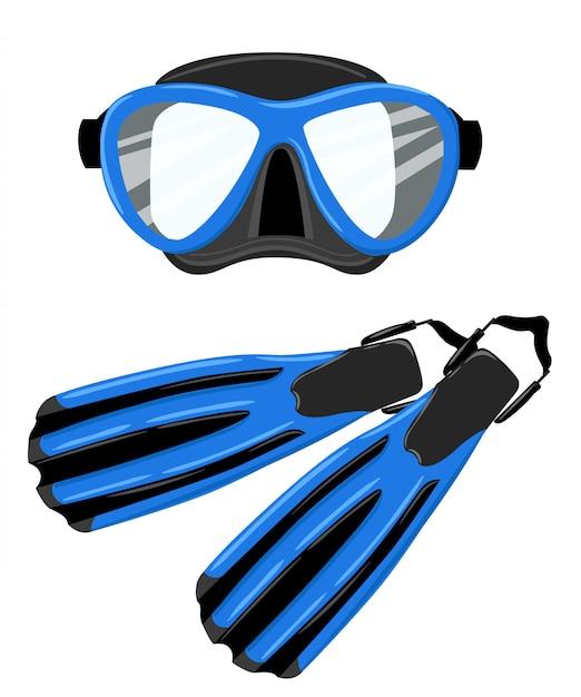 Illustrazione blu dell'attrezzatura subacquea delle pinne di immersione subacquea della maschera e dello snorkel sulla pagina del sito web del fondo bianco e sull'app mobile Vettore Premium
