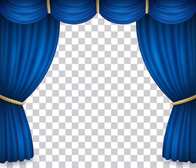 Sipario del teatro blu con drappeggi isolato su sfondo trasparente Vettore Premium