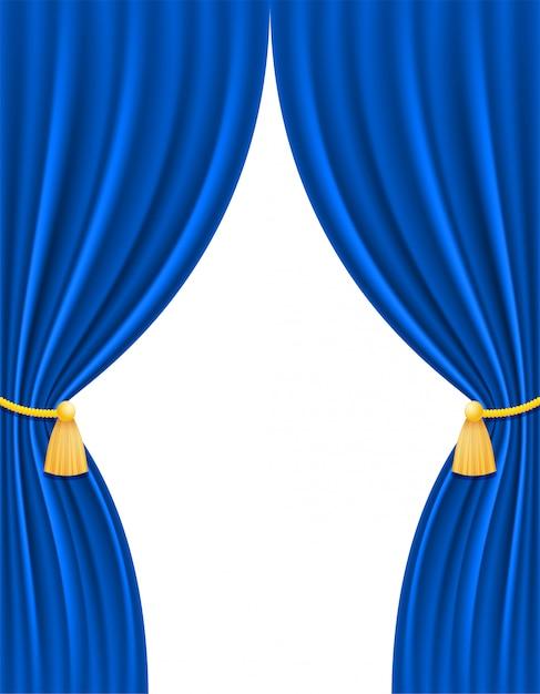 Tenda blu teatrale Vettore Premium
