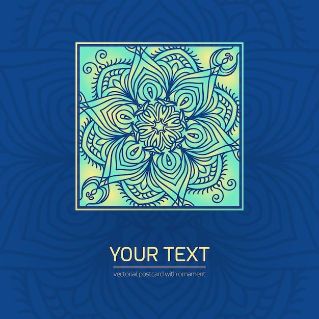 Sfondo blu e turchese con ornamento Vettore Premium