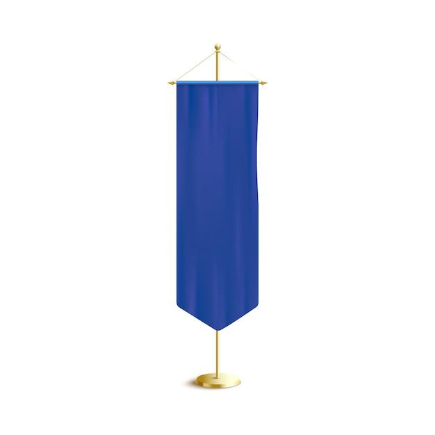 Gagliardetto verticale blu o bandiera che appende sulla cremagliera dorata, illustrazione realistica di vettore. poster o modello di banner pubblicitario. Vettore Premium