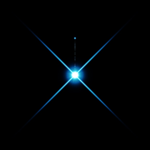Il riflesso luminoso dell'obiettivo di colore blu caldo ha perdite Vettore Premium