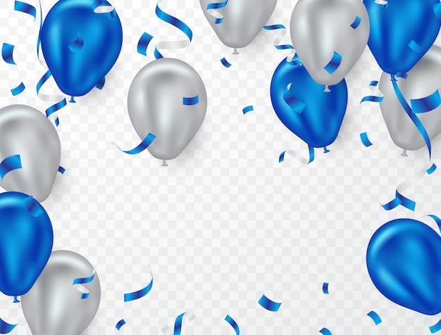 Sfondo di palloncino elio blu e bianco per la festa Vettore Premium