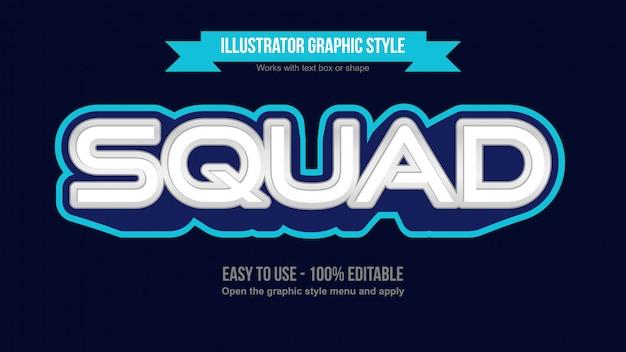 Effetto di testo modificabile con logo esports di gioco moderno blu e bianco Vettore Premium