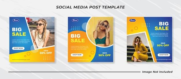 Blu con modelli di post sui social media di moda minimalista gialli Vettore Premium