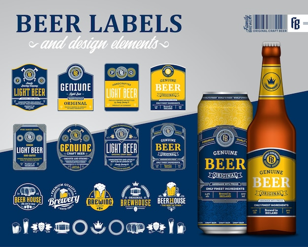 Etichette di birra di qualità premium blu e giallo. Vettore Premium