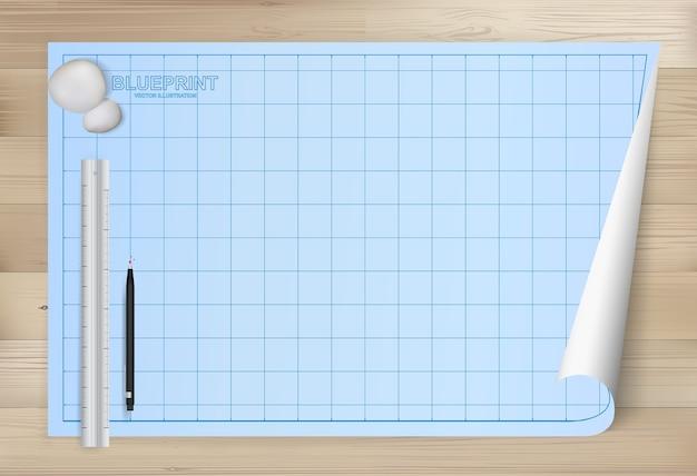 Fondo di carta del modello per il disegno architettonico. Vettore Premium