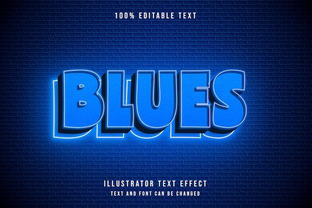 Blues, testo modificabile effetto blu sfumato al neon in stile moderno Vettore Premium