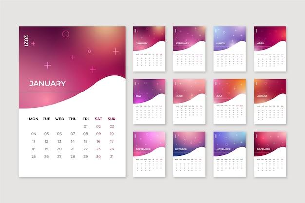 Calendario sfocato del nuovo anno 2021 Vettore Premium