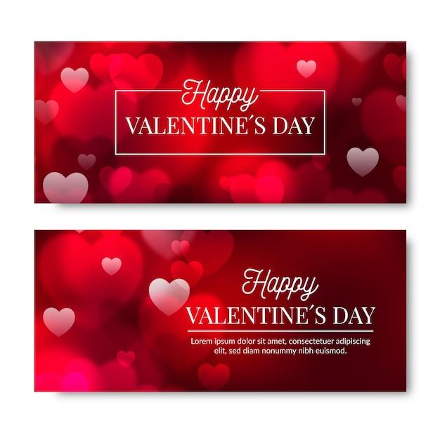 Collezione di banner offuscata di san valentino Vettore Premium