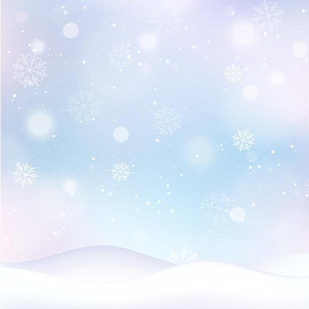 Carta da parati invernale sfocata con fiocchi di neve Vettore Premium